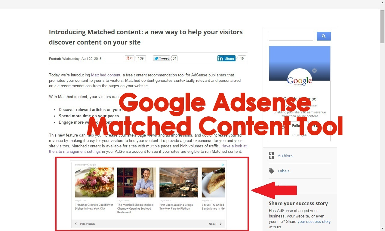 Google Adsense launches Matched Content Tool for the Publishers