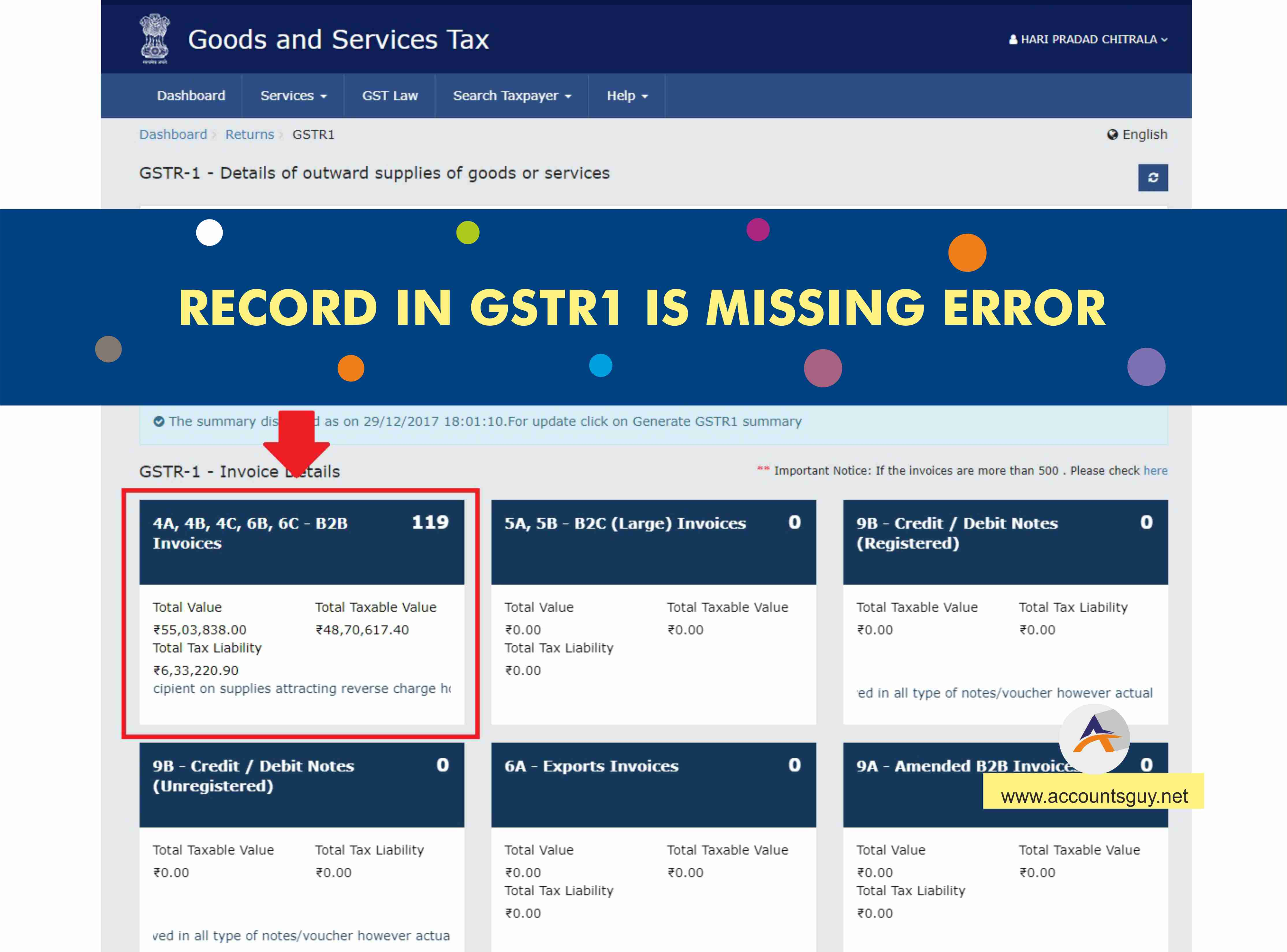 Records are missing in B2B column in GSTR1 return