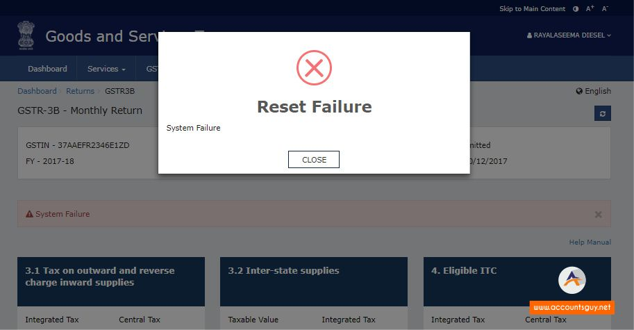 System Failure error occurred in GST Common Portal Returns section.