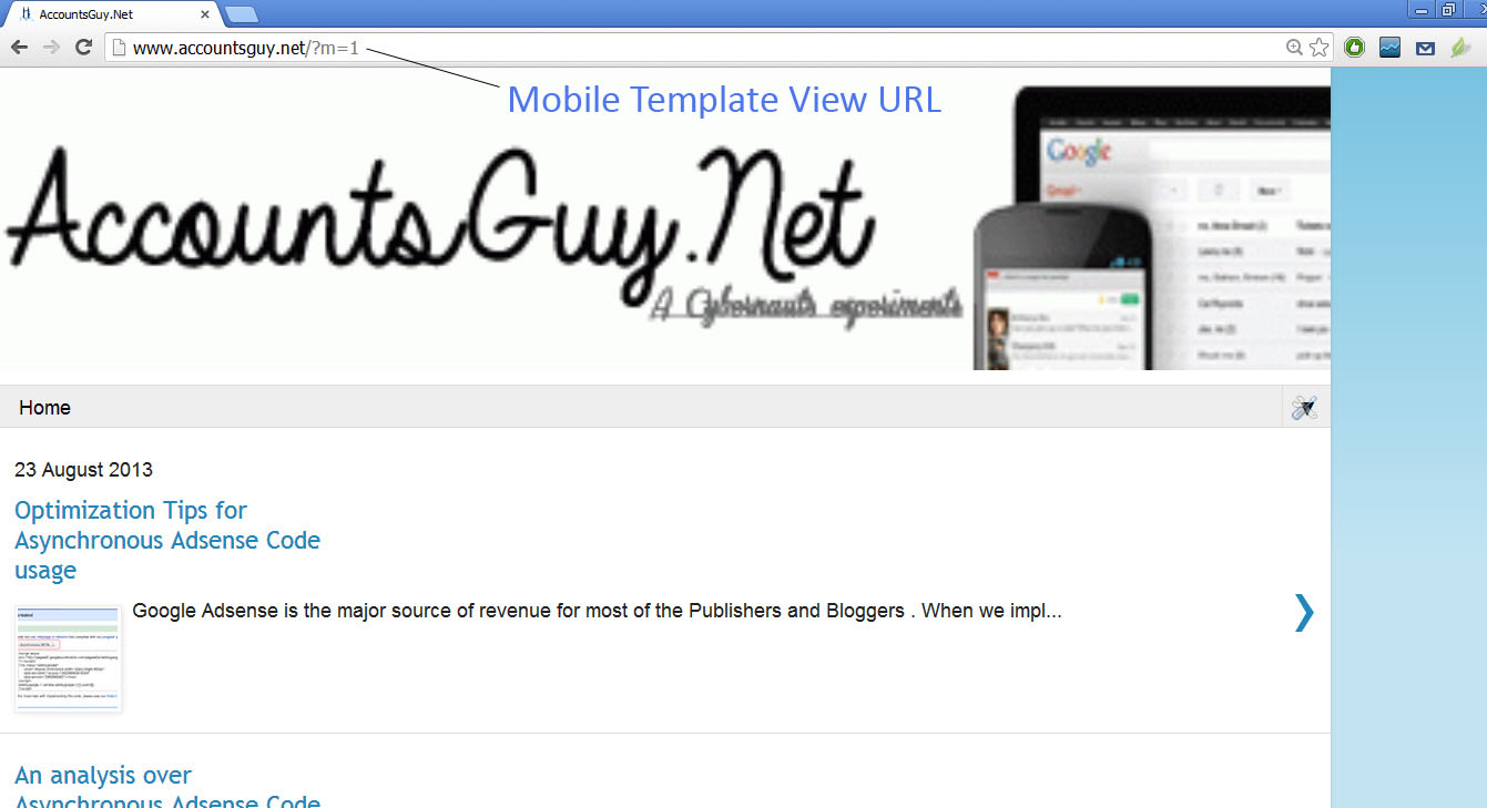 Image: Mobile Template View URL of Google Blogger