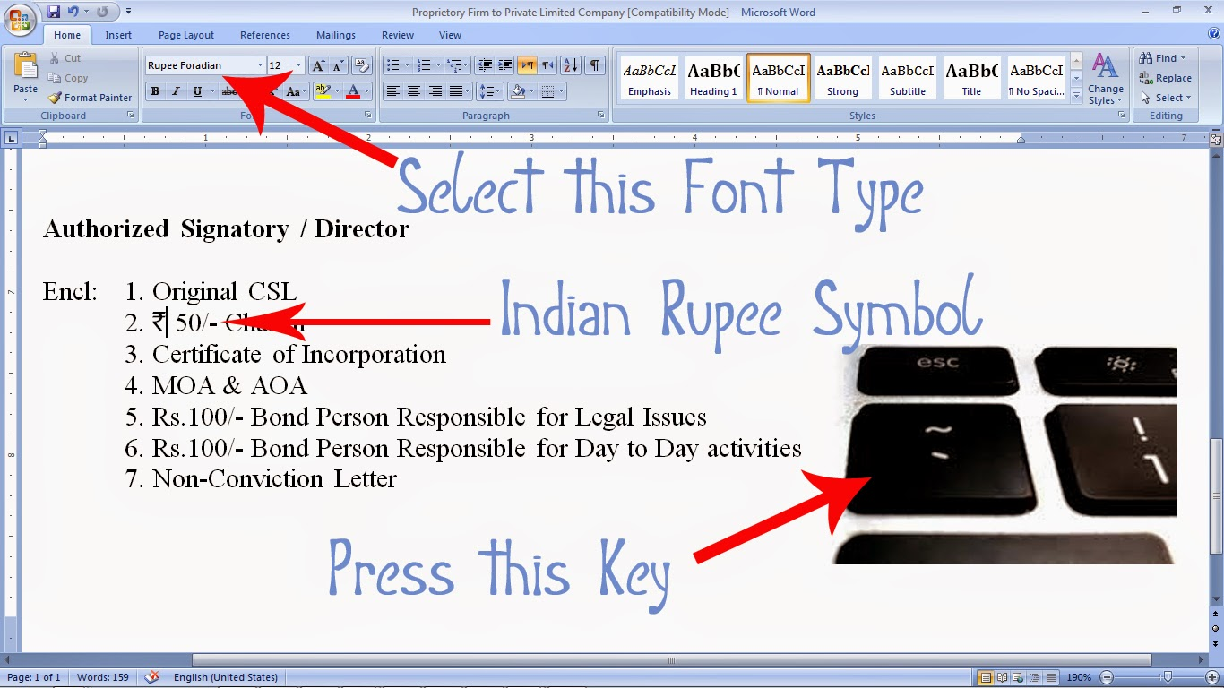 How To Install Type Indian Rupee Symbol In Computer Documents