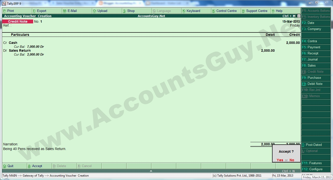 How to record Sales Return transaction in Tally.ERP 9 ...