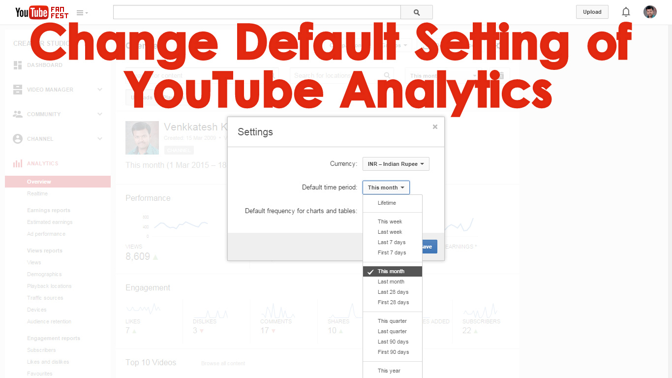 How to change the Settings of the YouTube Analytics Report